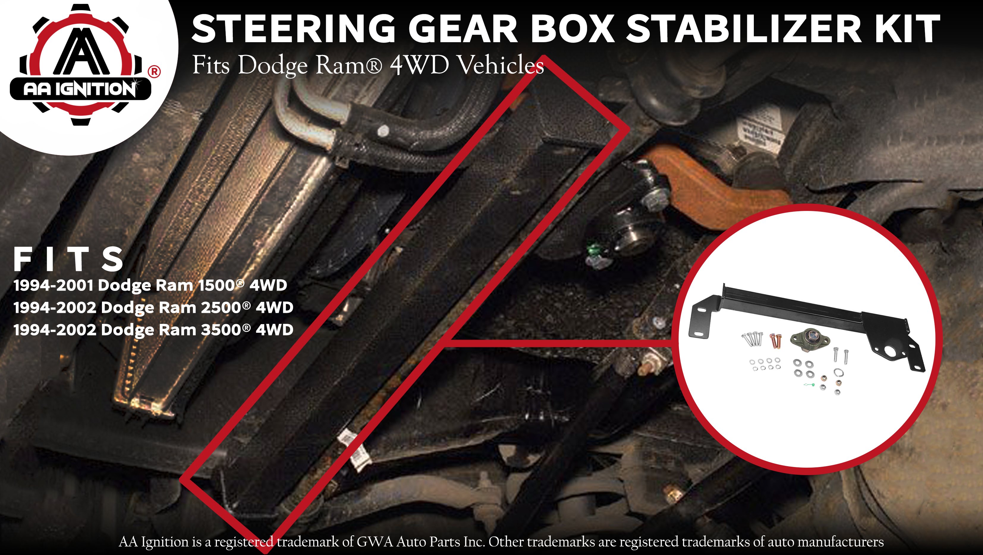 1994 2002 Dodge Ram 2500 3500 2WD Steering Gear Box Stabilizer Bar Brace NEW