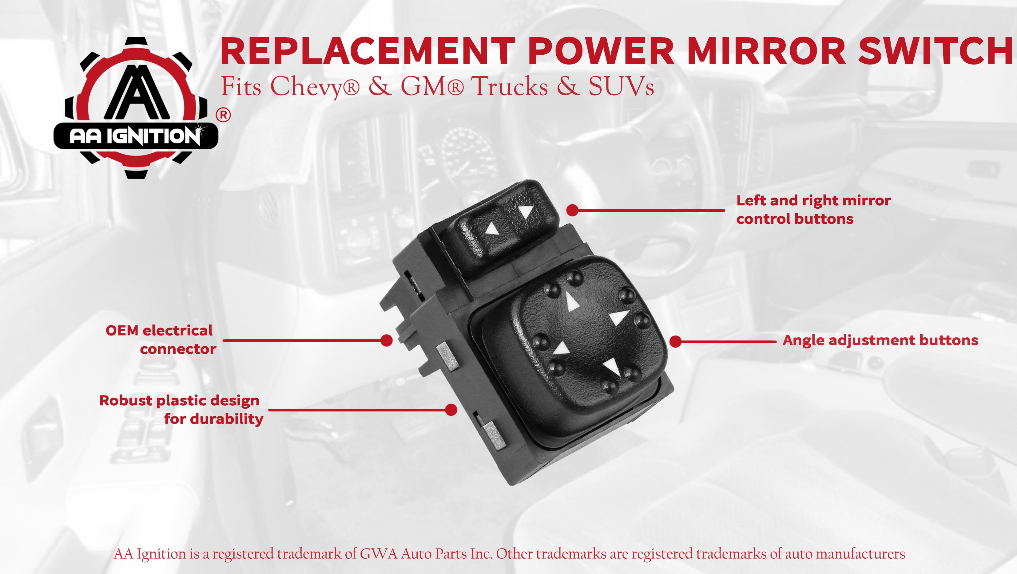 GMC 2500HD 15045085 901-124 Replacement(Black) 19259975 Power Mirror Switch for Chevy Chevrolet Silverado Sierra Tahoe Yukon Suburban
